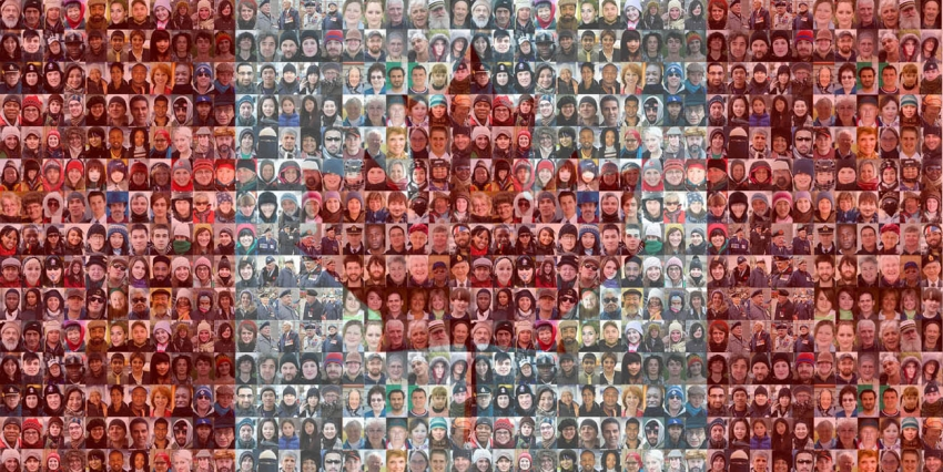 Mosaic of faces forming Canadian flag