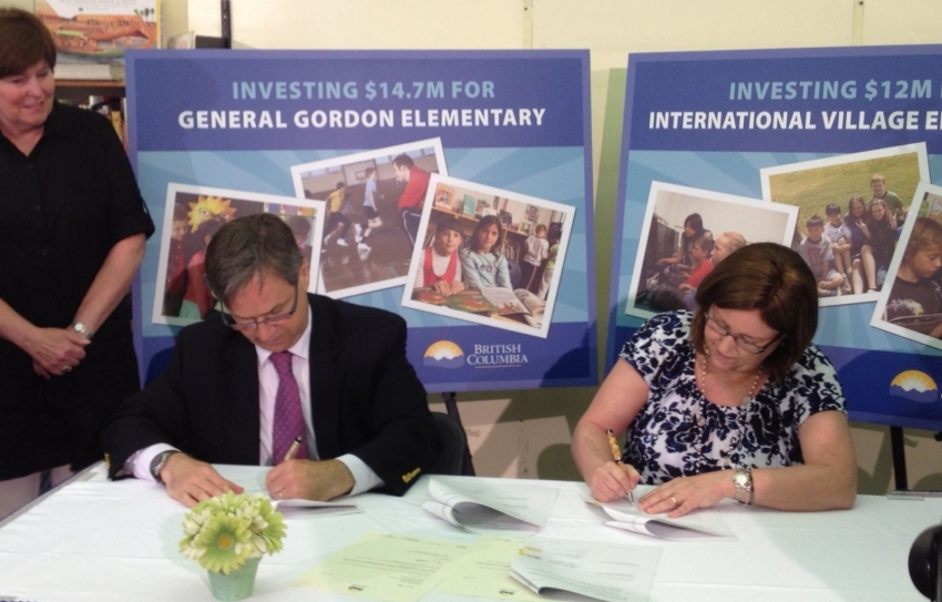 Signing International Village funding agreement