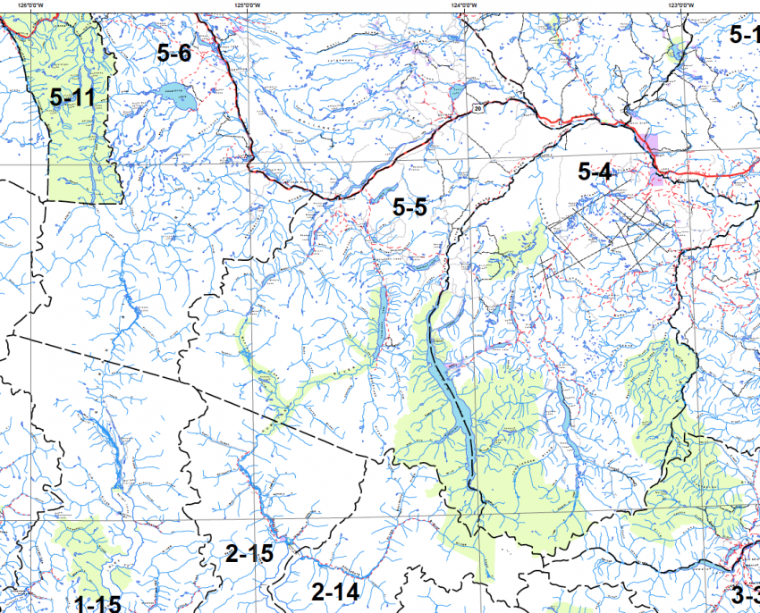 Grizzly hunting zones in Caribou Chilcotin - BC government map
