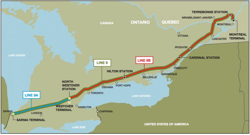 Line 9 Reversal pipeline map - Vancouver Observer