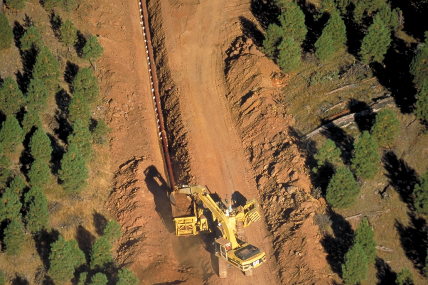 Pipeline construction aerial