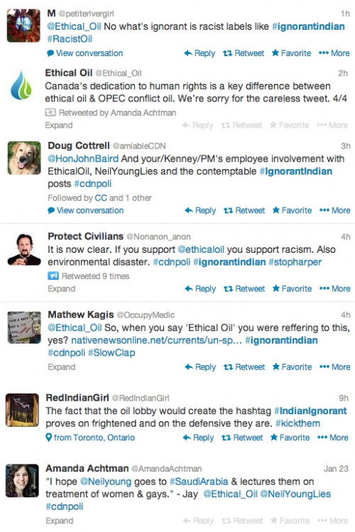 Twitter-verse responds to Ethical Oil IndianIgnorant post