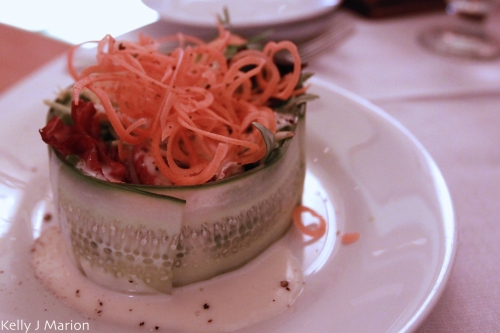 Spring Salad Mix Presented in a Cucumber Ring With Julienne Carrots and a Creamy Lemon Poppy Seed Vinaigrette